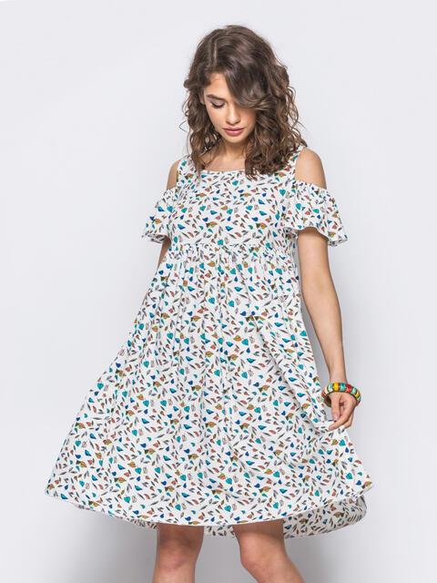 Белое платье с открытыми плечами и оборкой на рукавах - 11658, фото 4 – интернет-магазин Dressa