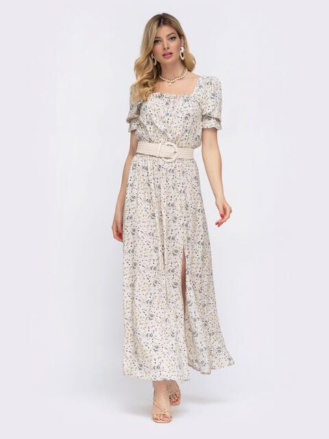 Бежевое платье-макси в цветочный принт с разрезом 48056, фото 1