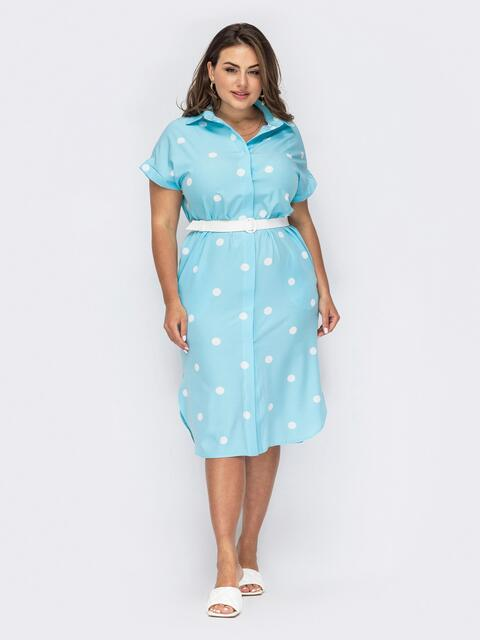 Голубое платье-рубашка большого размера в горох 54019, фото 1
