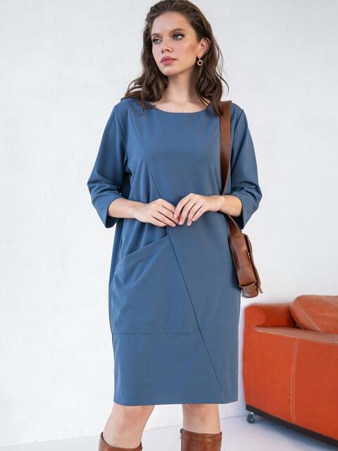 Платье батал в стиле oversize с накладным карманом голубое 51509, фото 1