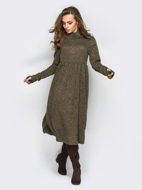 """Платье из трикотажа """"ангора"""" с расклешенным низом хаки 28242, фото 1"""