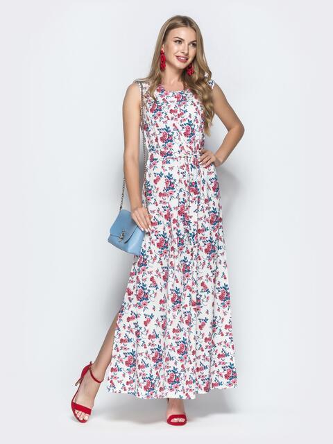 Платье-макси с красными принтом и разрезом 39486, фото 1
