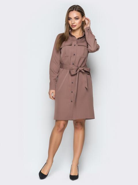 Платье-рубашка бежевого цвета с накладными карманами - 19195, фото 1 – интернет-магазин Dressa