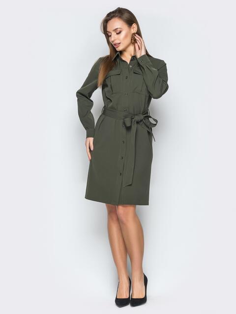 6e1e9bcbc7e Платье-рубашка цвета хаки с накладными карманами 19196 – купить в ...
