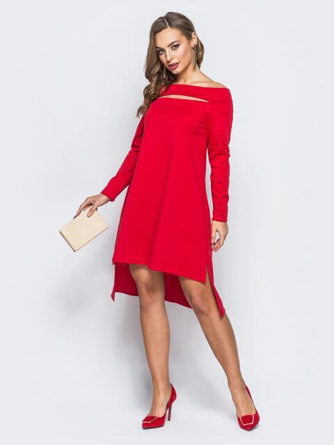 Платье с открытыми плечами и вырезом на полочке красное - 18057, фото 1 – интернет-магазин Dressa