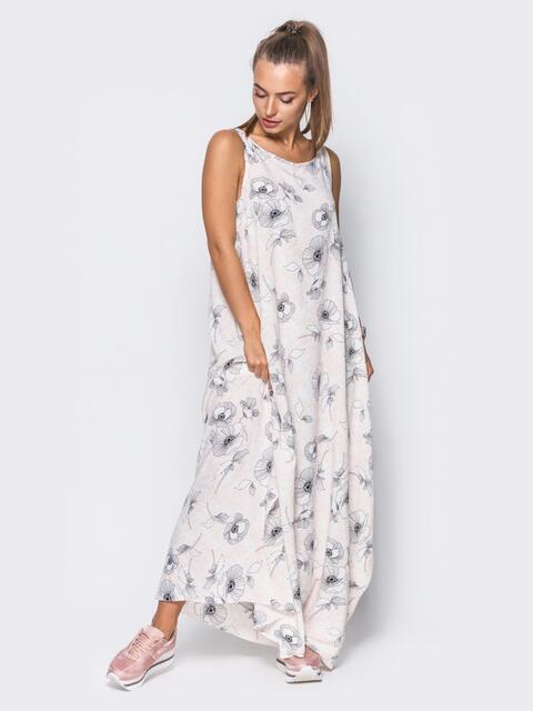 Платье в пол с нежным цветочным принтом бежевое - 11657, фото 1 – интернет-магазин Dressa