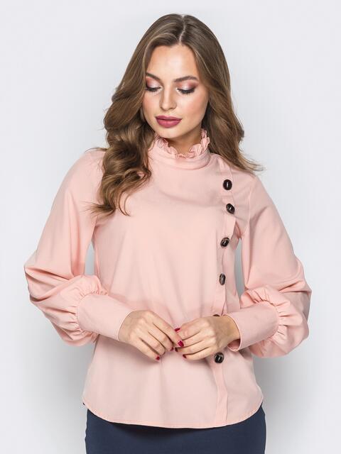 Розовая блузка с воротником-стойкой и пуговицами 19624, фото 1