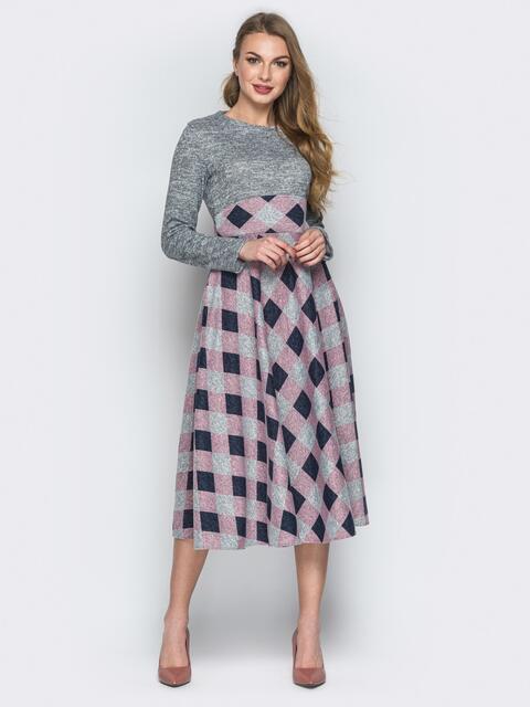 Розовое платье с юбкой-клёш и вшитым поясом - 19634, фото 1 – интернет-магазин Dressa