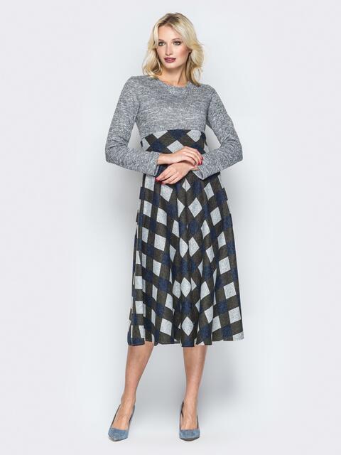 Серое платье с юбкой-клёш и вшитым поясом - 19633, фото 1 – интернет-магазин Dressa