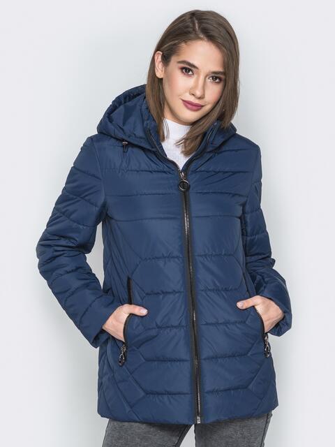 Синяя куртка со съёмным капюшоном и карманами на молнии - 20300, фото 1 – интернет-магазин Dressa