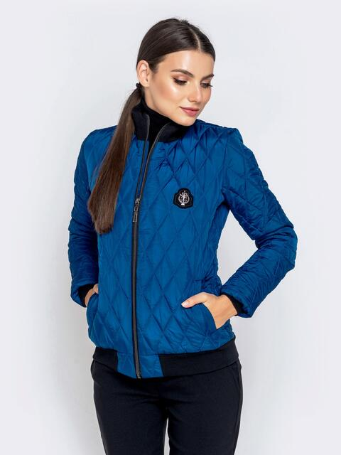 Стёганая куртка-бомбер синего цвета 40414, фото 1
