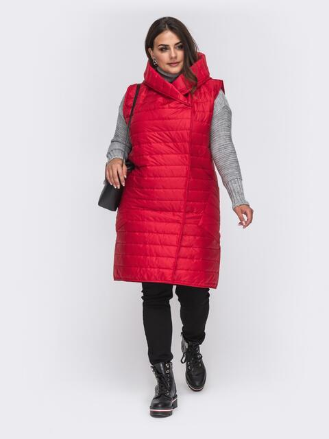 Стеганый жилет большого размера с капюшоном красный 50944, фото 1