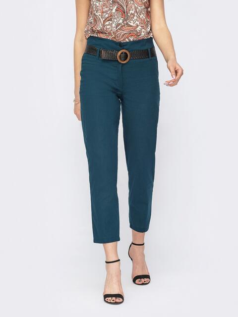 Укороченные брюки из льна с широким поясом зеленые 53776, фото 1