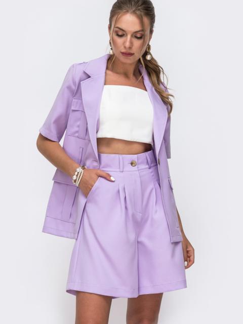 Фиолетовый комплект с шортами в стиле сафари 49547, фото 1