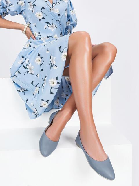 Голубые балетки из искусственной кожи - 47490, фото 1 – интернет-магазин Dressa