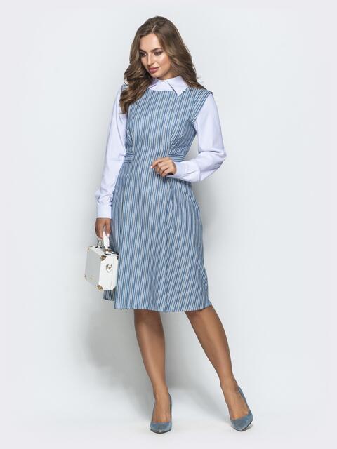 Платье в полоску с V-вырезом по спинке голубое - 39863, фото 1 – интернет-магазин Dressa