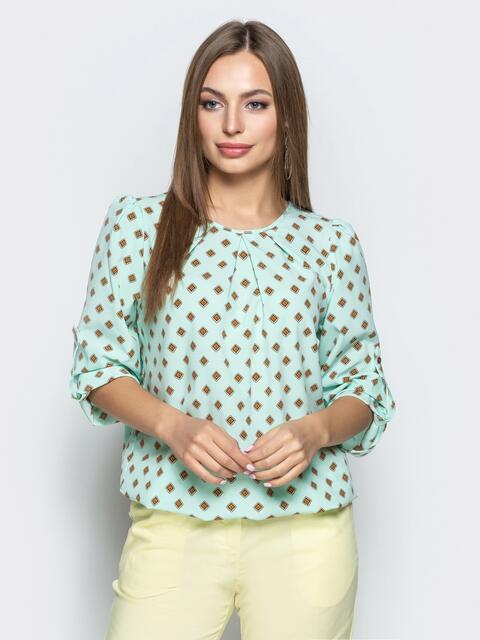 Принтованная блузка из софта мятного цвета - 21741, фото 1 – интернет-магазин Dressa