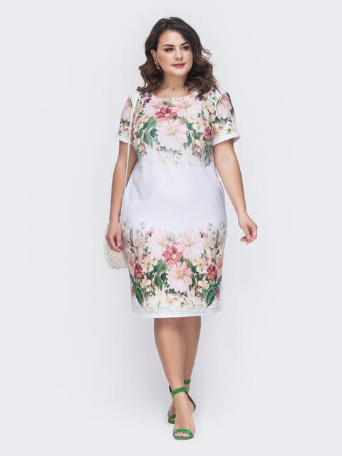 Приталенное платье большого размера с цветочным принтом 46424, фото 1