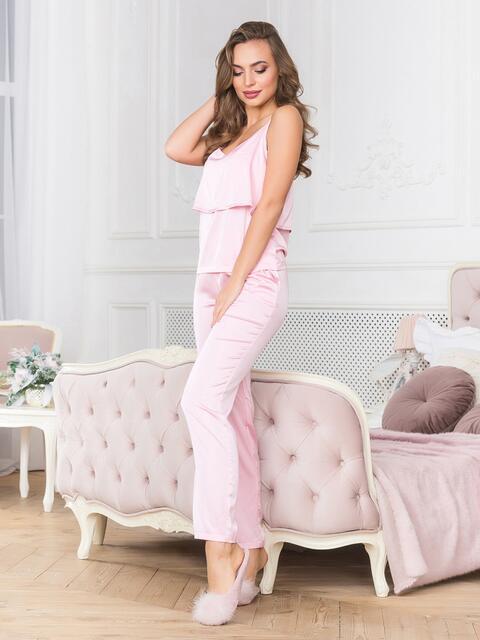 Розовая пижама с воланом на топе и брюками - 18935, фото 1 – интернет-магазин Dressa