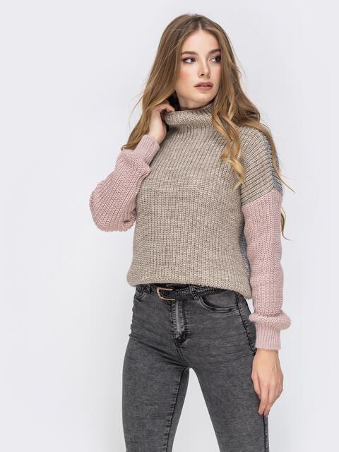 Серый свитер крупной вязки с высоким воротником 42176, фото 1