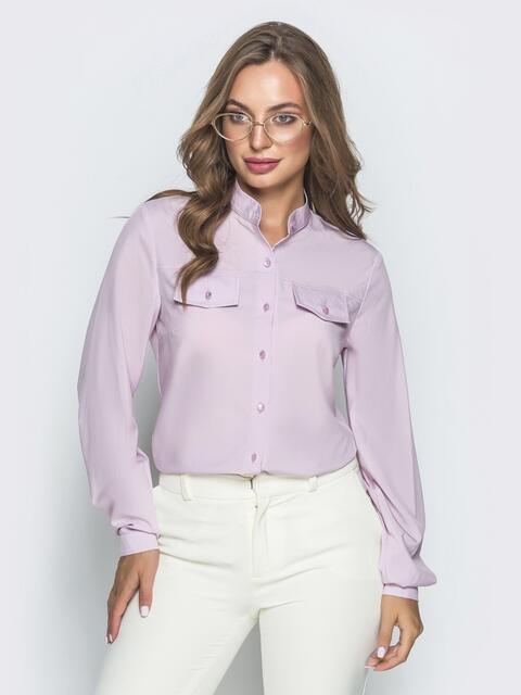 Сиреневая рубашка с воротником-стойкой - 39801, фото 1 – интернет-магазин Dressa