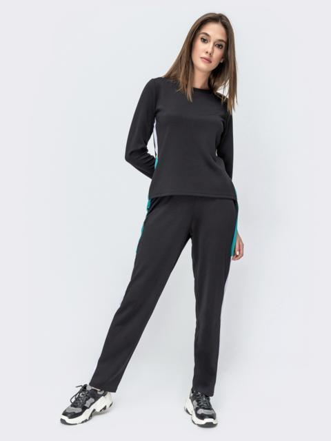 Спортивный костюм чёрного цвета из лонглифа и брюк - 44669, фото 1 – интернет-магазин Dressa