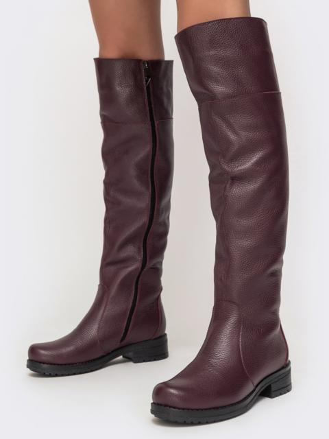 Зимние сапоги из натуральной кожи бордового цвета - 41676, фото 1 – интернет-магазин Dressa