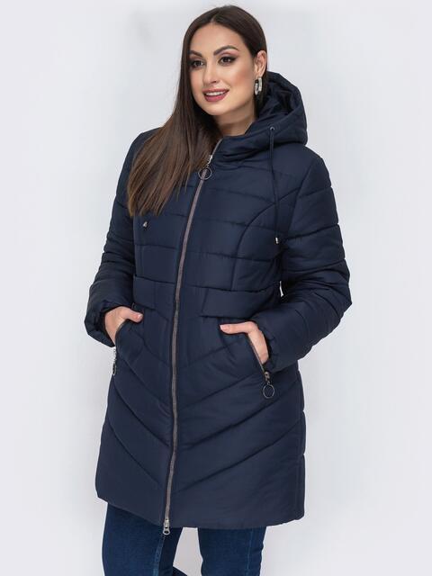 Зимняя куртка приталенного кроя тёмно-синяя - 44055, фото 1 – интернет-магазин Dressa
