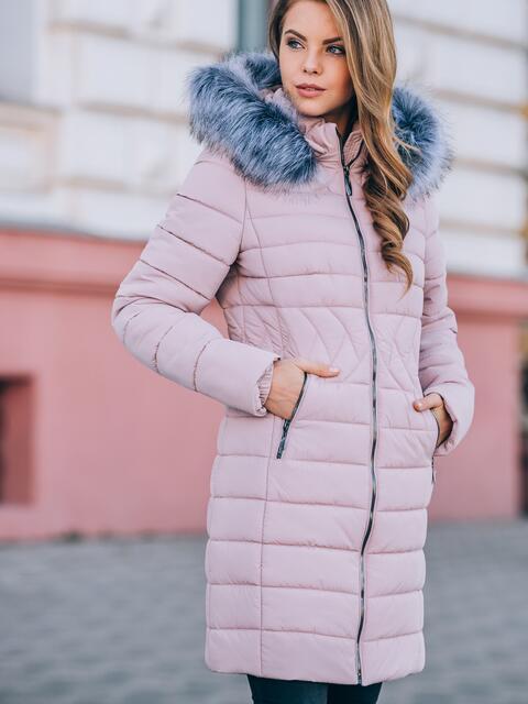 Зимняя куртка розового цвета с отстёгивающимся капюшоном - 15226, фото 1 – интернет-магазин Dressa