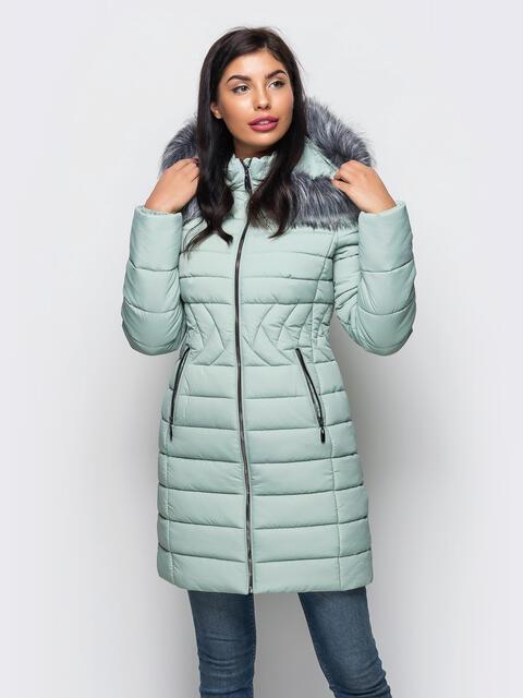 Зимняя куртка зелёного оттенка с отстёгивающимся капюшоном - 15224, фото 1 – интернет-магазин Dressa
