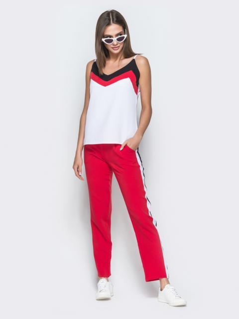 Брючный комплект с топом и контрастными вставками бордовый - 38501, фото 1 – интернет-магазин Dressa