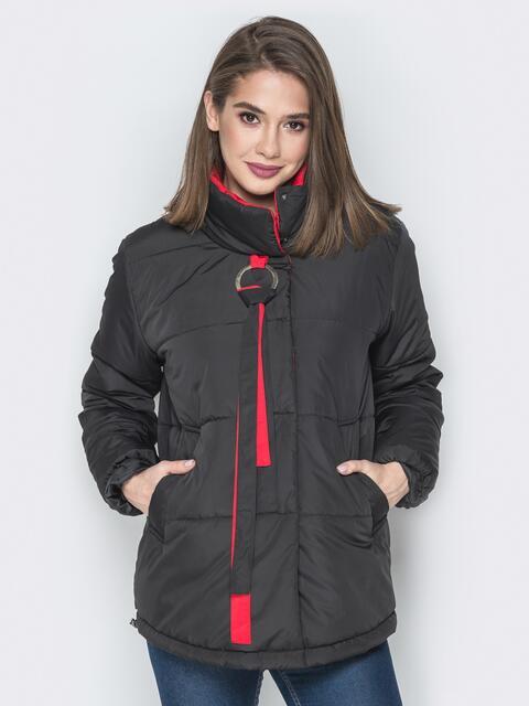 Чёрная куртка на кнопках и кольцом под горловиной - 20076, фото 1 – интернет-магазин Dressa