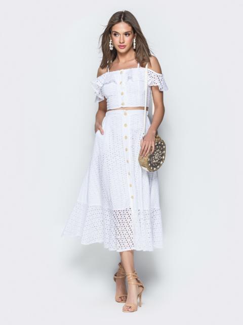 Хлопковый комплект из топа и юбки-полусолнце белый - 38600, фото 1 – интернет-магазин Dressa