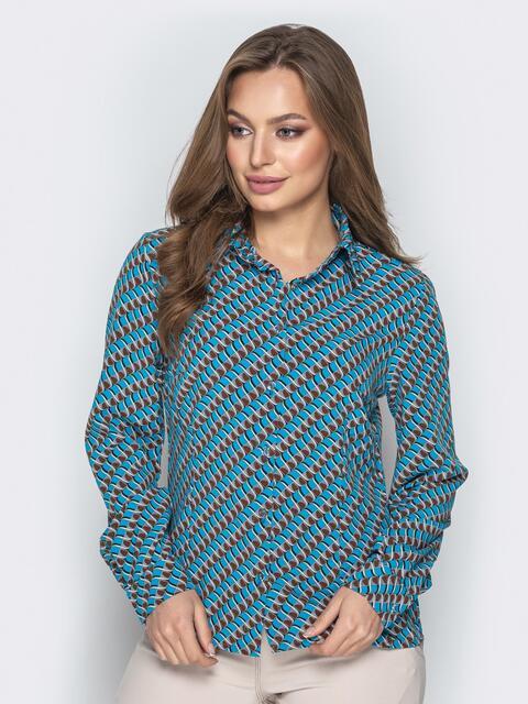 2b44177db528c6c Классическая рубашка с принтом голубая - 20859, фото 1 – интернет-магазин  Dressa