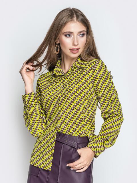 Классическая рубашка с принтом зелёная - 20857, фото 1 – интернет-магазин Dressa