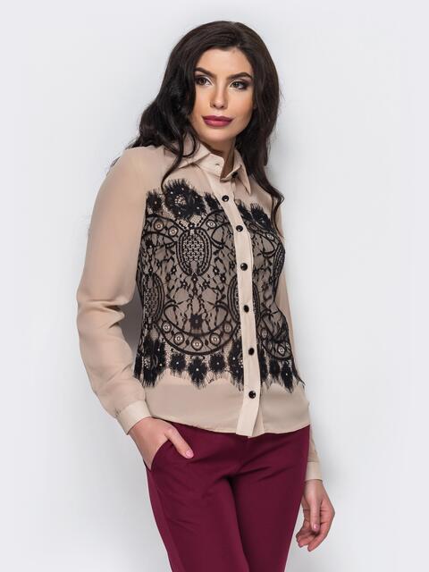 Классическая шифоновая блузка с французским кружевом бежевая - 12254, фото 1 – интернет-магазин Dressa