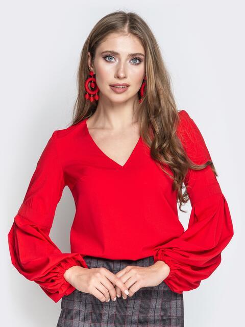 bf666e9532b Красная блузка с объемными рукавами и V-вырезом - 20876