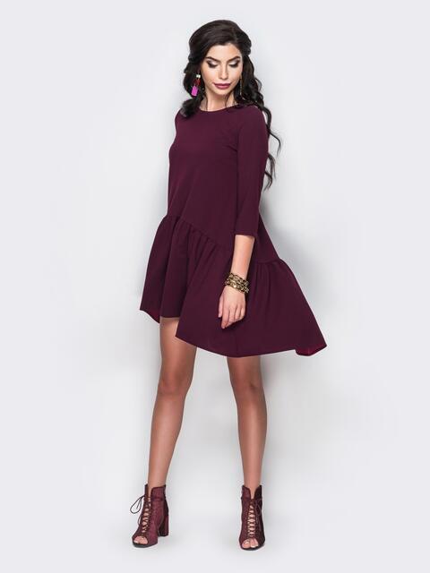 7d67c1fb96f Платье oversize с ассиметричным воланом бордовое 13548 – купить в ...
