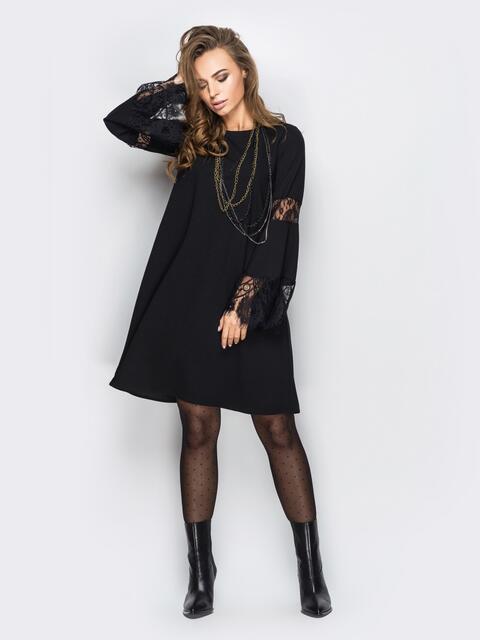 Платье-трапеция с кружевом на длинных рукавах черное - 11148, фото 1 – интернет-магазин Dressa