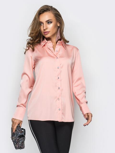 Шелковая розовая блузка с длинными рукавами - 12256, фото 1 – интернет-магазин Dressa