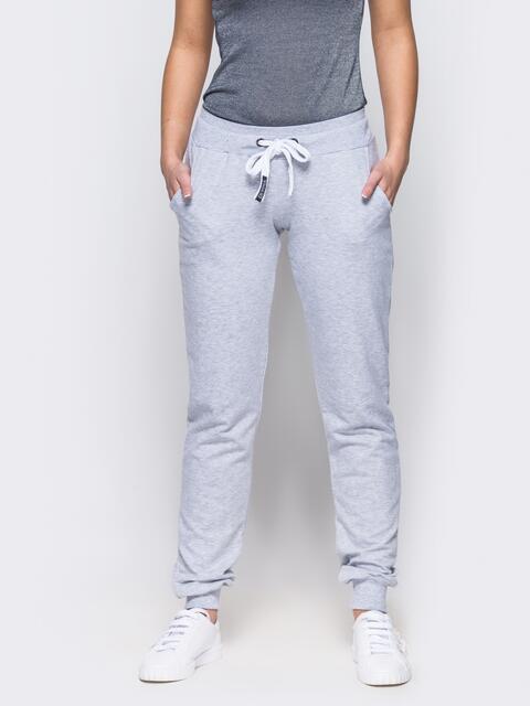 71e05fb17dfd Спортивные брюки с кулиской и резинкой на поясе светло-серые - 12138, фото 1