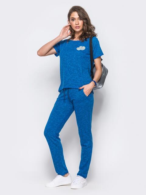 Спортивный костюм с необработанными краями синий - 11993, фото 1 – интернет-магазин Dressa