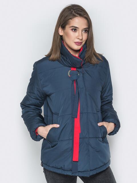Тёмно-синяя куртка на кнопках и кольцом под горловиной - 20073, фото 1 – интернет-магазин Dressa
