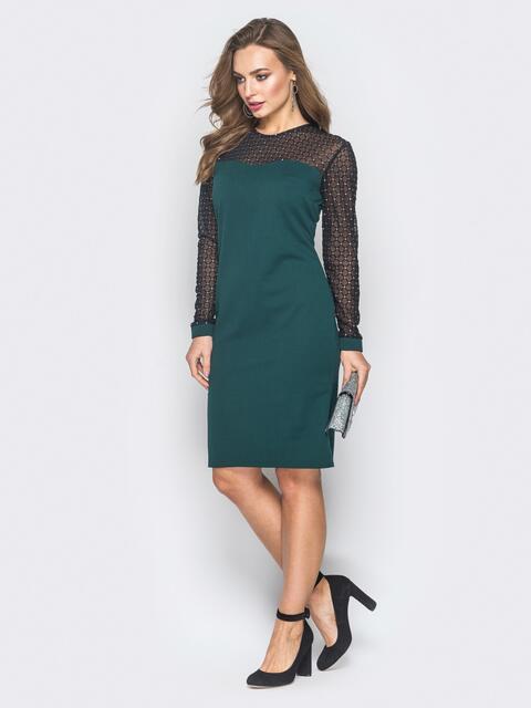 Зелёное платье с кокеткой и рукавами из евросетки - 18644, фото 1 – интернет-магазин Dressa