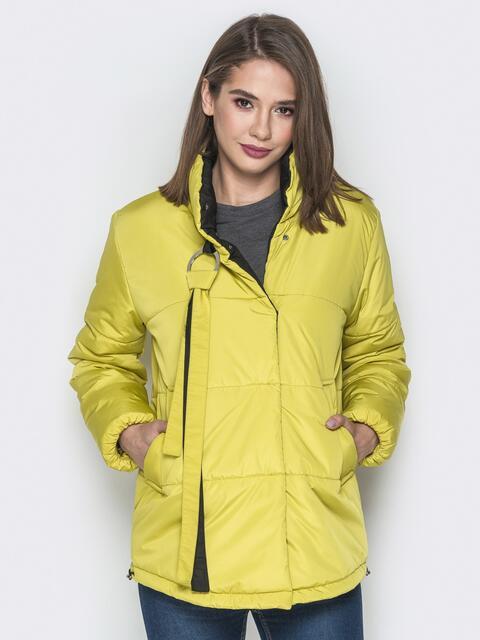 Желтая куртка на кнопках и кольцом под горловиной - 20075, фото 1 – интернет-магазин Dressa