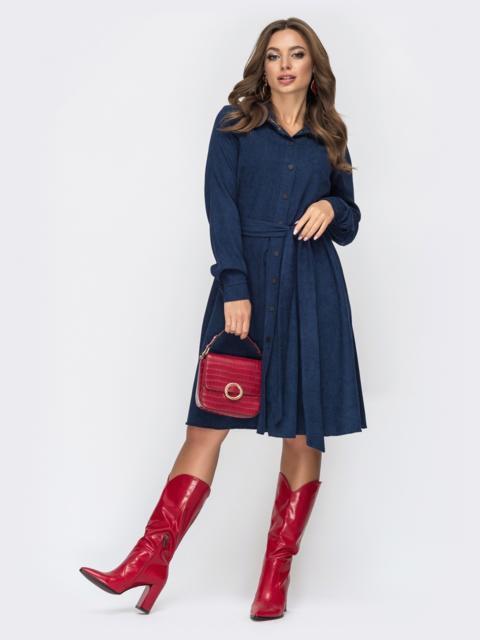 Расклешенное платье из вельвета тёмно-синее 44858, фото 1