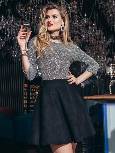 Чёрное платье из люрекса с юбкой-полусолнце 42851, фото 1