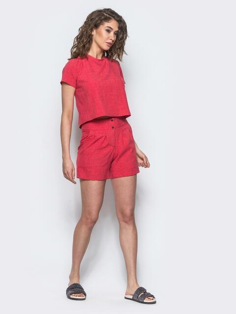 Комплект из льна с укороченной блузкой красный 12735, фото 1