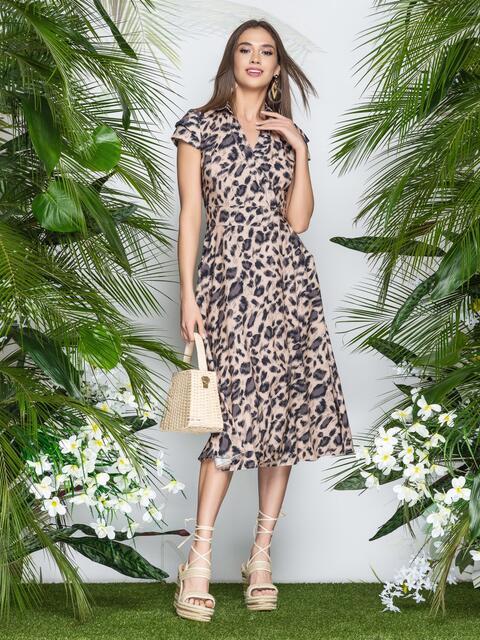 786969883c4c93b Леопардовое платье на запах с рукавом