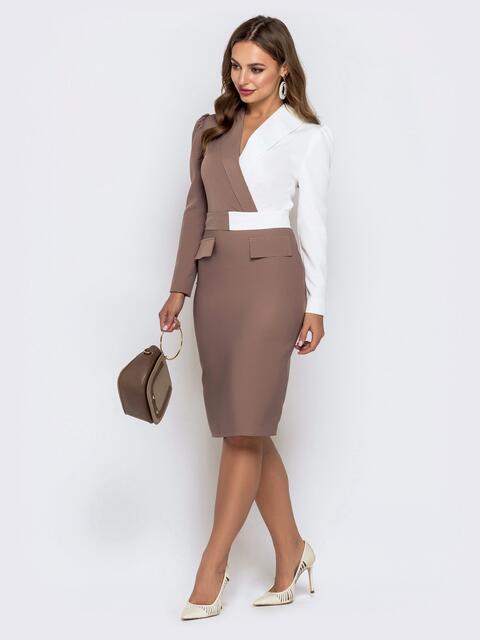 Обтягивающее платье-миди бежевого цвета 40763, фото 1